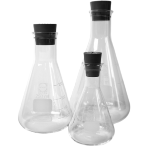 Erlenmeyer Flasks with rubber bung