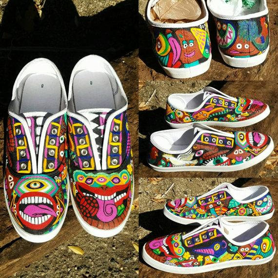 hand painted psychedelic shoes