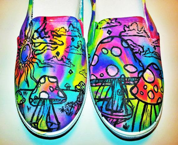colourful mushroom shoes magic